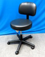 Doctors Stool with Back, Gas Lift Adjustable, New in Box, Black