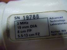 ATL Scanhead 3 Mhz 19mm 8 cm FP Probe