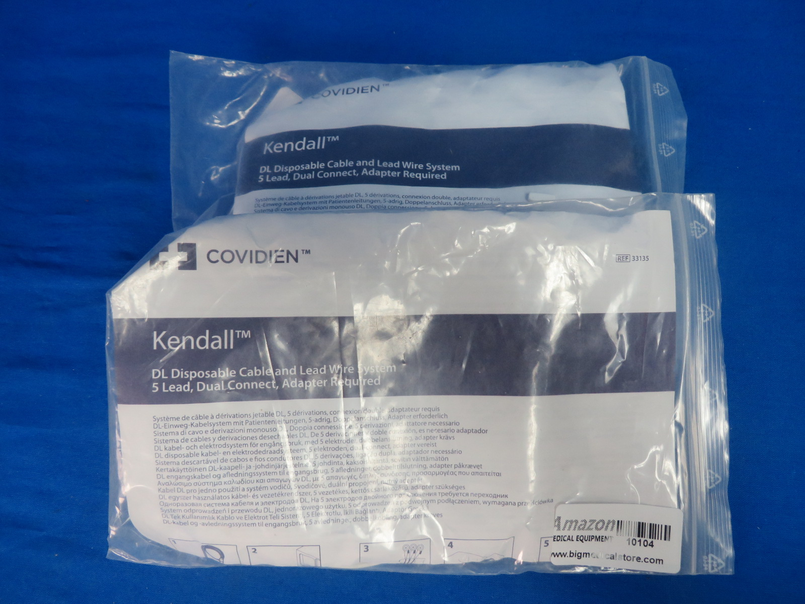 Covidien Kendall DL 33135 2 qty Disposable Cable and Lead Wire System 5  Lead Dual Connect, Adaptor Required, 90 Day Warranty