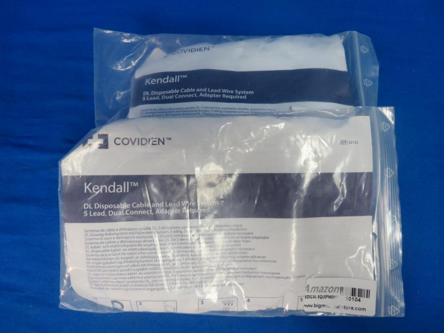 Covidien Kendall DL 33135 2 qty Disposable Cable and Lead Wire System 5 Lead Dual Connect, Adaptor Required, 90 Day Warr