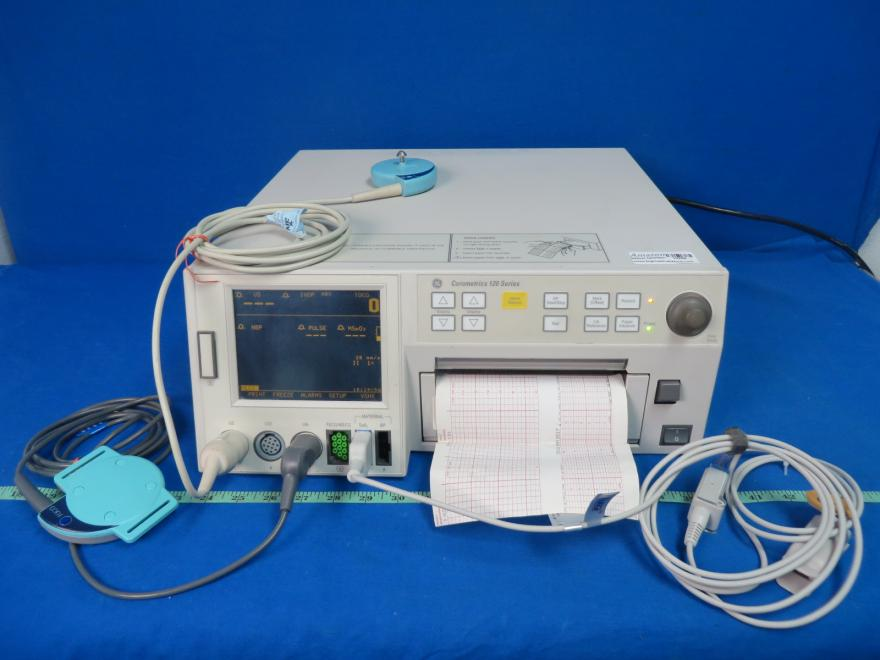 GE Corometrics 120 Series Fetal Monitor with Spo2 Finger Sensor and Extension, Toco Transducer and US Transducer, 90 Day