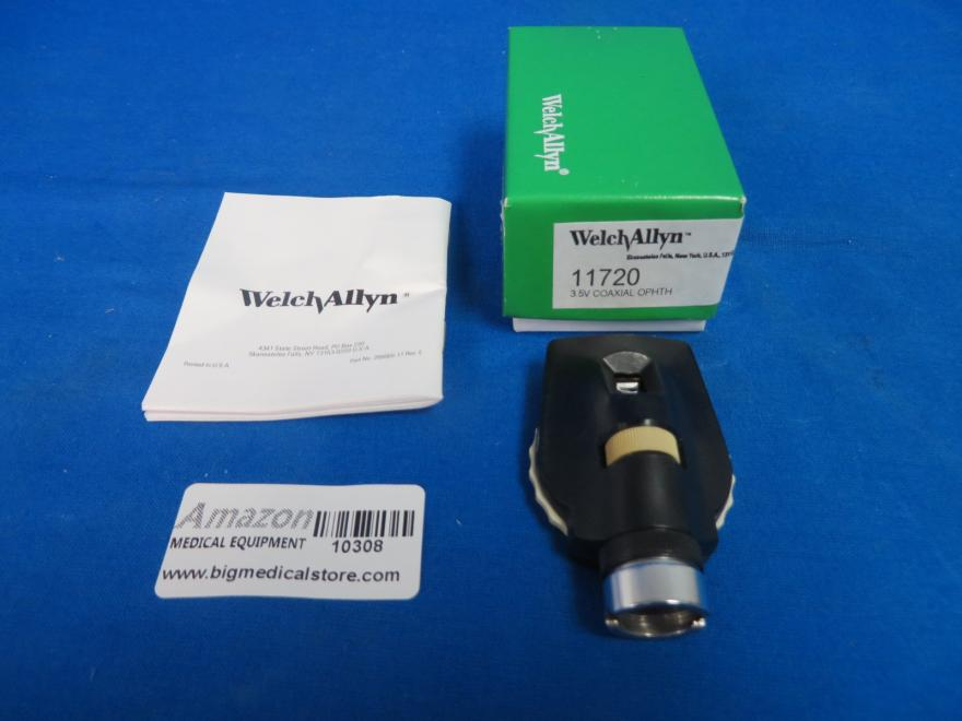 Welch Allyn 11720 Coaxial Ophthalmoscope Head 3.5V In Box with Manual, 90 Day Warranty