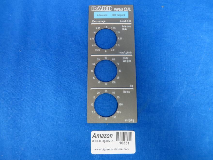 Baxter Bard INFUS O.R. Infus O.R. Smart Label, Alfentanil, Label: L01, 90 Day Warranty