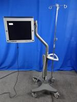 Medtronic V3C-SX19-N650 NDS 18 LCD Surgeon Monitor on Rolling Stand with Four Hook IV Pole, 90 Days Warranty