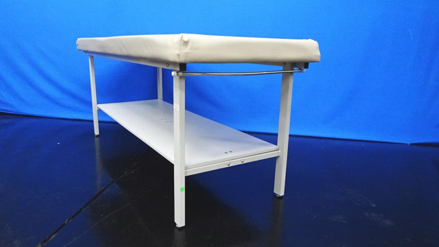 Winco 850 Tan Flat Top Treatment Table with Bottom Shelf and Paper Rod 72X28X30 Max Weight Capacity: 400lbs, 90 Days